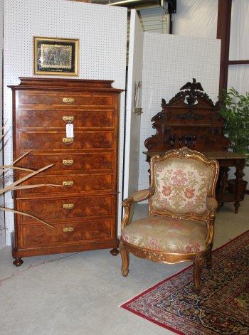 Old Henry furniture, bronze sculptures, accessories