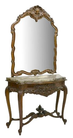 Louis XV Style Giltwood Mirrored Console Table